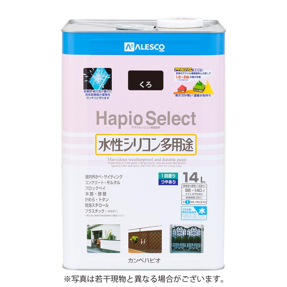 カンペハピオ 水性シリコン多用途塗料 つやあり ハピオセレクト くろ 14L
