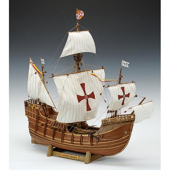 ウッディジョー 木製帆船模型 1/50 サンタマリア レーザーカット加工