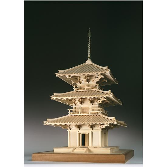 ウッディジョー 木製建築模型 【1/50 法起寺 三重塔】レーザーカット加工