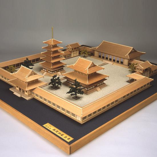 ウッディジョー 木製建築模型 1/150 法隆寺 全景 レーザーカット加工