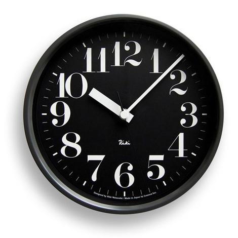 ☆☆☆☆☆【デザイン:渡辺力】Lemnos(レムノス)インテリアクロックRIKI STEEL CLOCK RC(電波時計タイプ)WR08-25 BKブラック