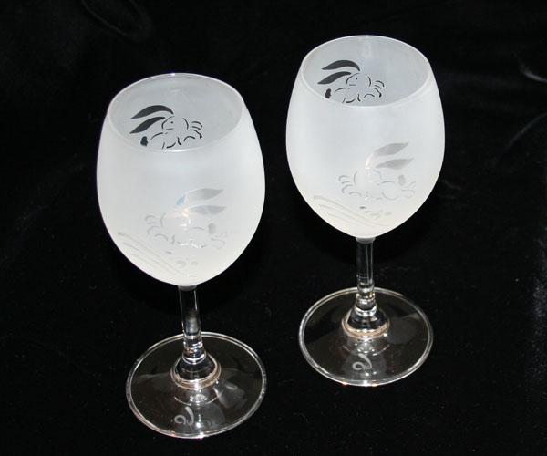 ◆特選!ポイント20倍!◆ペアワイングラスサンドブラスト加工