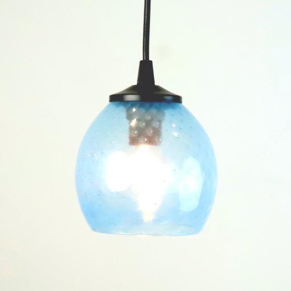 ペンダントライト ペンダントランプ ライト ランプシェード blue aqua ブルー カフェ風ランプ 照明 dot-aqua-blue-no7 Azzurro Glass Studio 東敬恭