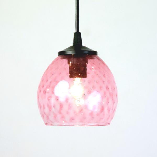 ペンダントライト ペンダントランプ ライト ランプシェード pink ピンク カフェ風ランプ 照明 dot-pink-no6 Azzurro Glass Studio 東敬恭