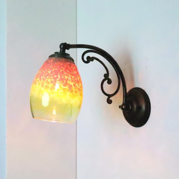 ブラケットライト 壁掛け照明 ブラケットランプ fc-w10ay-frit-irisyellow-no1 Azzurro Glass Studio