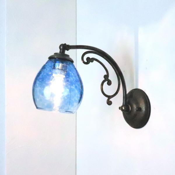 ブラケットライト 壁掛け照明 ブラケットランプ fc-w10ay-frit-tourmaline-no10 Azzurro Glass Studio