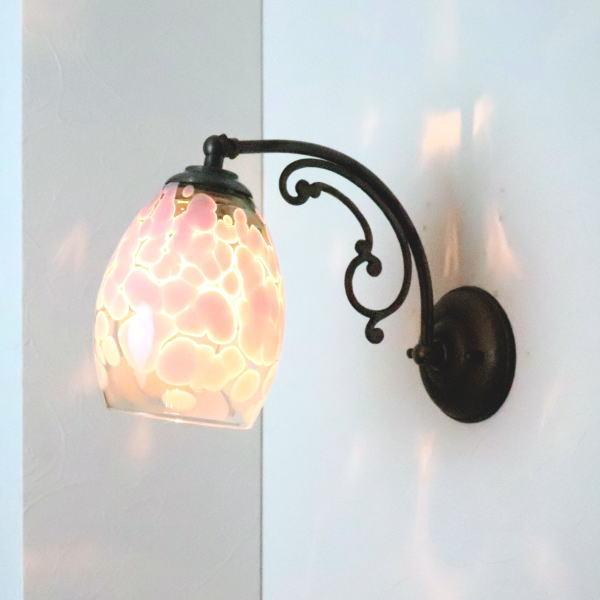 ブラケットライト 壁掛け照明 ブラケットランプ fc-w10ay-frit-violet-smokedgreen-no4 Azzurro Glass Studio