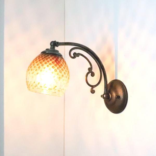 ブラケットライト 壁掛け照明 ブラケットランプ fc-w10ay-dot-brown-no5 Azzurro Glass Studio