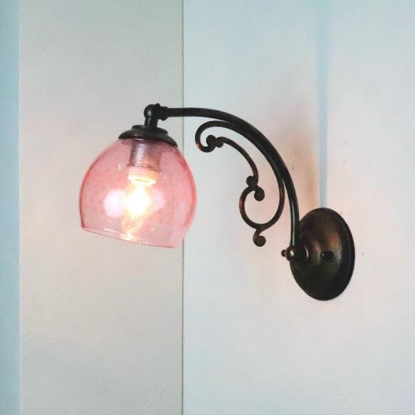 ブラケットライト 壁掛け照明 ブラケットランプ fc-w10ay-dot-pink-no6 Azzurro Glass Studio
