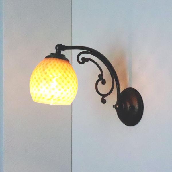 ブラケットライト 壁掛け照明 ブラケットランプ fc-w10ay-dot-irisyellow-opaline-no8 Azzurro Glass Studio