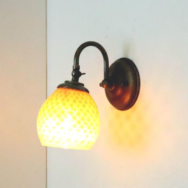 照明 ブラケットランプ ブラケットライト ウォールランプ LED ウォールライト Studio 本物◆ Azzurro 壁掛け照明 壁付けライト 最安値挑戦 Glass fc-w004-dot-irisyellow-opaline-no8