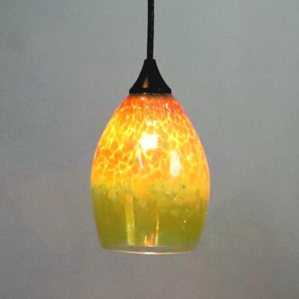 ペンダントライト ペンダントランプ ライト ランプシェード irisyellow カフェ風ランプ 照明 frit-irisyellow-no1 Azzurro Glass Studio 東敬恭