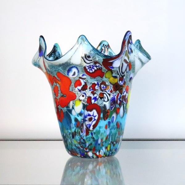 diec8lightblue 輸入インテリア小物 花瓶 ベネチアングラス、イタリア製