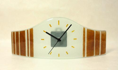 置時計 置き時計 cnoav15x40brown  グラスデザイン置時計 ハンガリー製 ガラス置時計