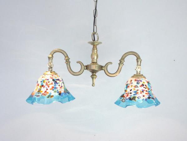 ベネチアンシャンデリア 照明 イタリア製 fc-562-fan-smerlate-lightblue