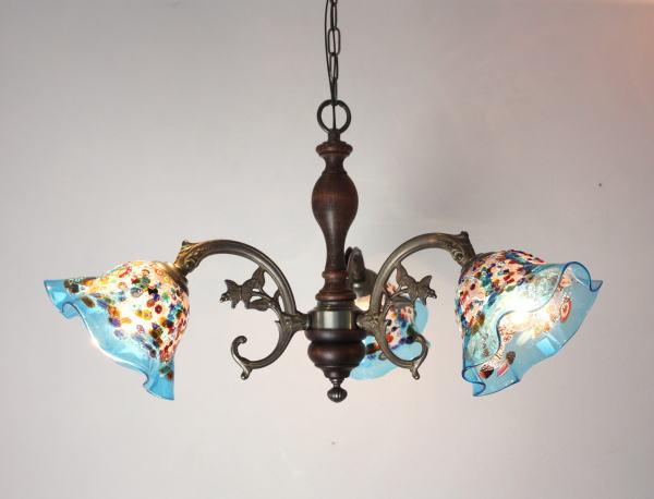 ベネチアンシャンデリア 照明 イタリア製 fc-621-fan-smerlate-lightblue