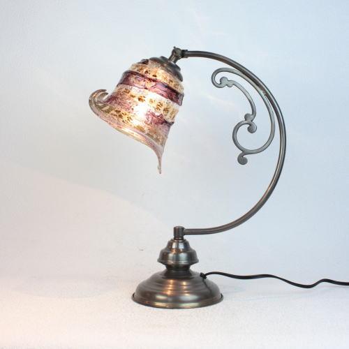 ベネチアングラスランプ 照明 テーブルランプ 卓上ランプ イタリア製 dd10ay-calla-sbruffo-amethyst-amber