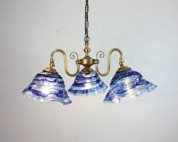 ベネチアンシャンデリア 照明 イタリア製 fc-122-smerlate-sbruffo-blue-lightblue