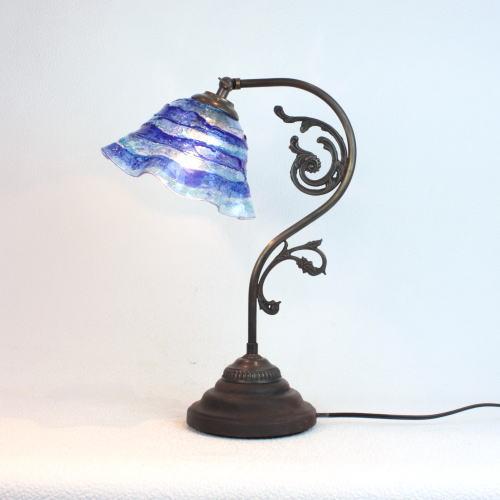 fc-600a-smerlate-sbruffo-blue-lightblue ベネチアングラスランプ 照明 テーブルランプ 卓上ランプ イタリア製