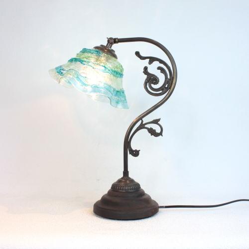 fc-600a-smerlate-sbruffo-lightblue-green ベネチアングラスランプ 照明 テーブルランプ 卓上ランプ イタリア製