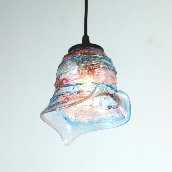ベネチアングラスランプ ペンダントライト ベネチアンガラスdi-calla-sbruffo-amethyst-lightblue-sc