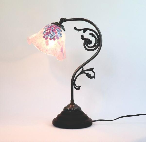ベネチアングラスランプ ヴェネチアングラスランプ 照明 専門店 ギフ_包装 テーブルランプ 卓上ランプ ムラーノ イタリア製 fc-600a-goti-p-smerlate-pink