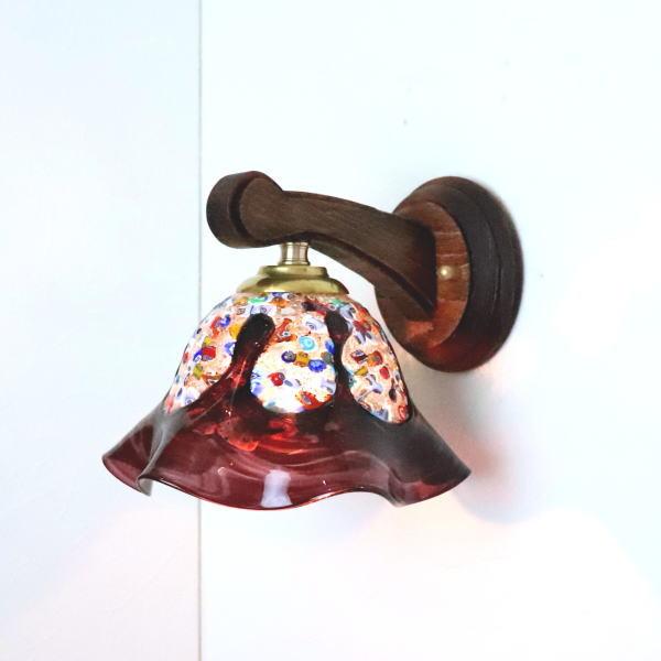 ベネチアングラスランプ LED対応 照明 ブラケットランプ ブラケットライト ウォールランプ 人気 おすすめ イタリア製 壁掛け照明 fc-ww016g-fantasy-smerlate-amethyst 壁付けライト ウォールライト 特価