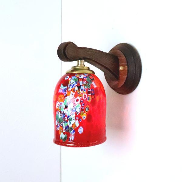 ベネチアングラスランプ LED対応 照明 商舗 ブラケットランプ ブラケットライト ファクトリーアウトレット ウォールランプ イタリア製 壁掛け照明 fc-ww016g-goti-p-goto-red 壁付けライト ウォールライト