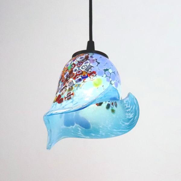 ベネチアングラスランプ ペンダントライト ベネチアンガラス ブルー カフェ風ランプ di-goti-p-calla-azure-sc