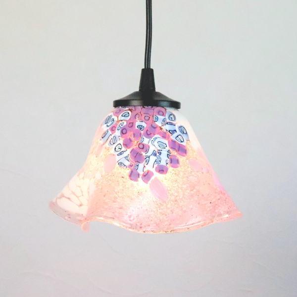 ベネチアングラスランプ ペンダントライト ベネチアンガラス ブルー カフェ風ランプ di-goti-p-smerlate-pink-sc