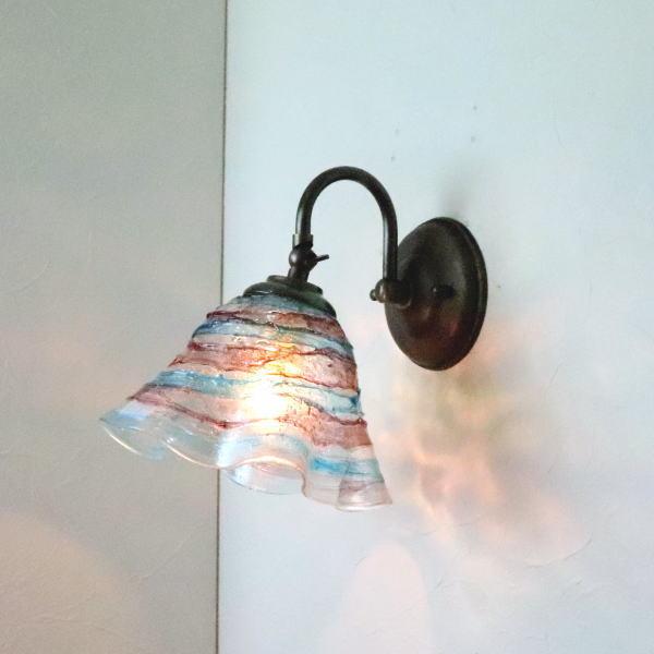 驚きの値段で ベネチアングラスランプ 全品送料無料 LED対応 照明 ブラケットランプ ブラケットライト ウォールランプ ウォールライト 壁付けライト 壁掛け照明 イタリア製 fc-w004-smerlate-sbruffo-amethyst-lightblue