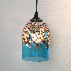 ペンダントライト ベネチアングラスランプ ベネチアンガラス ブルー カフェ風ランプ