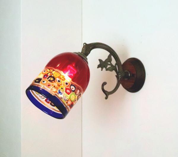 別倉庫からの配送 ベネチアングラスランプ LED対応 照明 ブラケットランプ ブラケットライト ウォールランプ fc-ww621-dm138red 壁付けライト 壁掛け照明 イタリア製 春の新作シューズ満載 ウォールライト