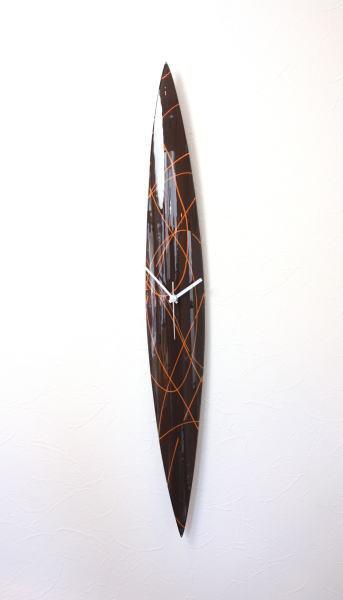 cnopg10x74brawn-orange グラスデザイン掛け時計 ハンガリー製 ガラス お祝い 掛け時計 掛時計 壁掛け時計