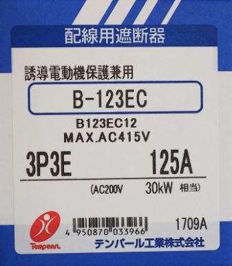 テンパール B123EC12 ノーヒューズブレーカー 125A 1,3φ3W