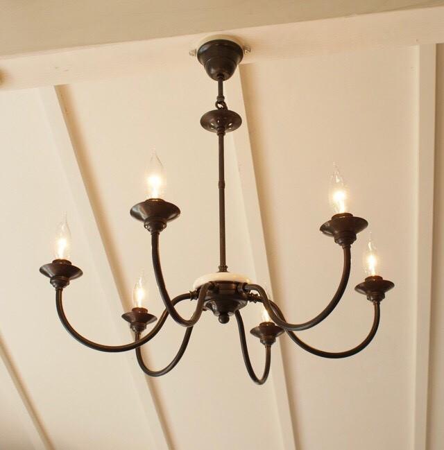6 light chandelire (シックスライトシャンデリア) 6灯シャンデリア 真鍮 黒染め 送料無料