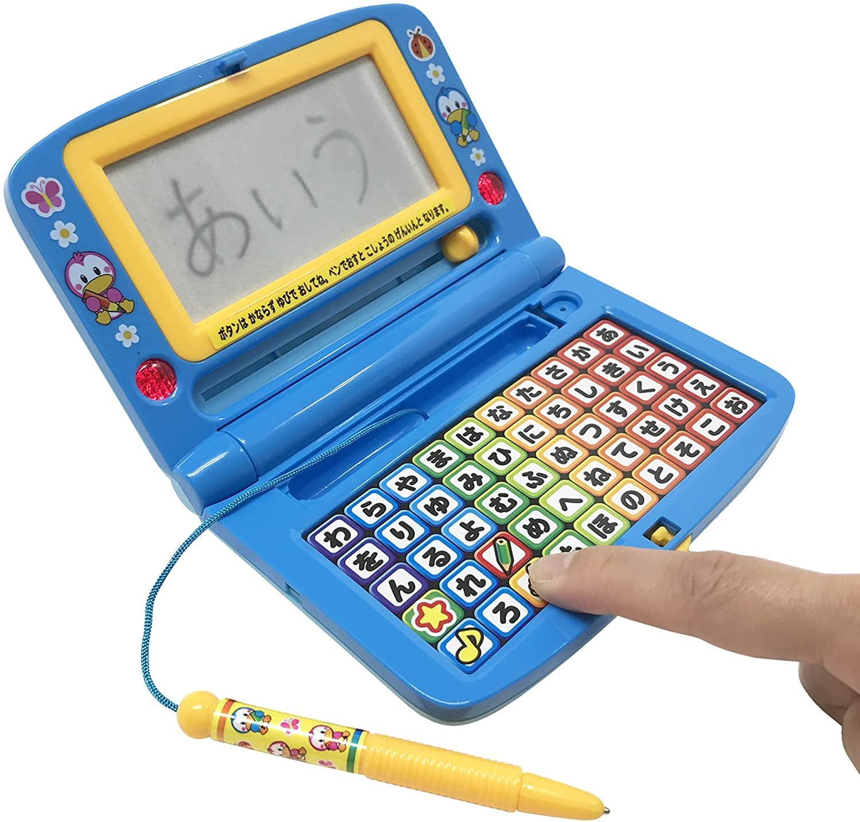 楽しくあそんdeあいうえおブルー 賜物 ボタンを押すと声が出る 音が鳴る ライトが光る 書く押す聞く おもちゃ 子ども お買い得品 字が書ける