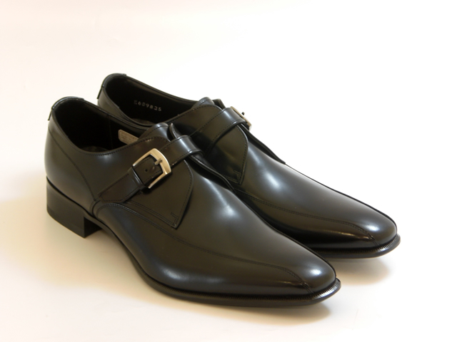 [REGAL Men's]リーガル メンズスクエアトウ スワールモンク(ブラック)☆靴 シューズ メンズ☆