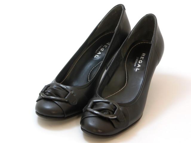 REGAL リーガルラウンドトゥ 美錠ベルトパンプス(ブラック)レディース シューズ 靴