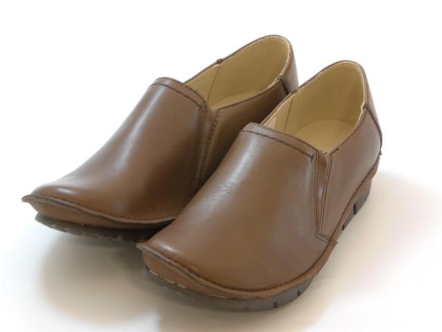 hiromichi nakano ヒロミチ ナカノ(超軽量)甲深サイドゴア スリッポンシューズ(ダークブラウン)レディース シューズ 靴