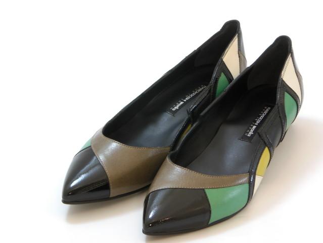 ≪20% OFF SALE≫RABOKIGOSHI works ラボキゴシ ワークスカラーブロック ローヒールパンプス(グリーンコンビ)レディース シューズ 靴セール品につき返品・交換・キャンセル不可