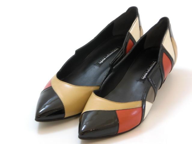 ≪20% OFF SALE≫RABOKIGOSHI works ラボキゴシ ワークスカラーブロック ローヒールパンプス(レッドコンビ)レディース シューズ 靴セール品につき返品・交換・キャンセル不可