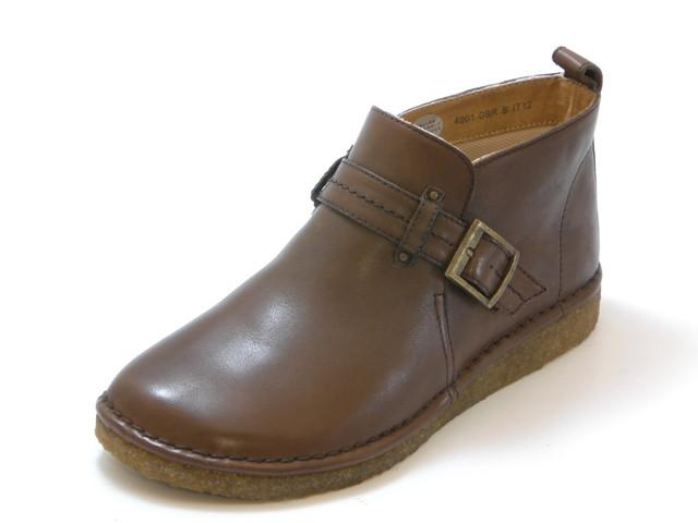 HOCCO ホッコ甲ベルト カジュアルアンクルブーツ(ダークブラウン)レディース シューズ 靴