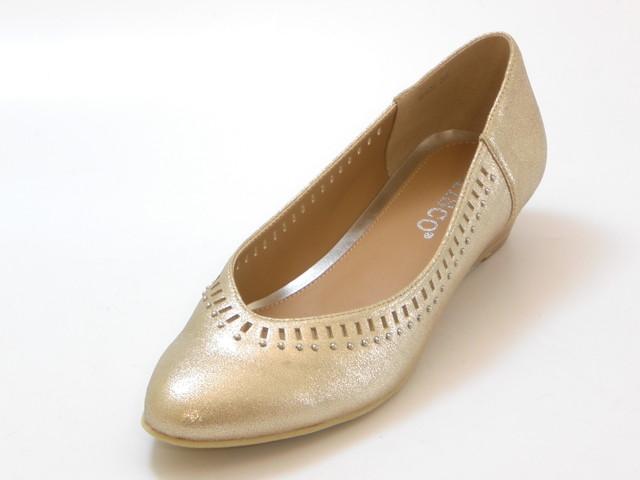 送料無料 沖縄 離島は1100円かかります ≪30% OFF 正規店 SALE≫KISCO キスコカッティング スタッズ キャンセル不可 交換 ウェッジパンプス 靴セール品につき返品 シューズ 超激安特価 レディース ゴールド
