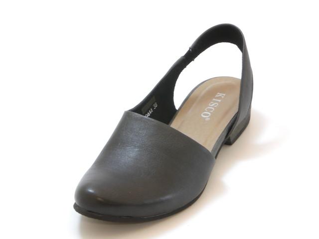 KISCO キスコスリングバック ぺたんこカジュアルシューズ(ブラック)レディース シューズ 靴