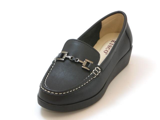 KISCO キスコ厚底 ソフトレザービットシューズ(ブラック)レディース シューズ 靴