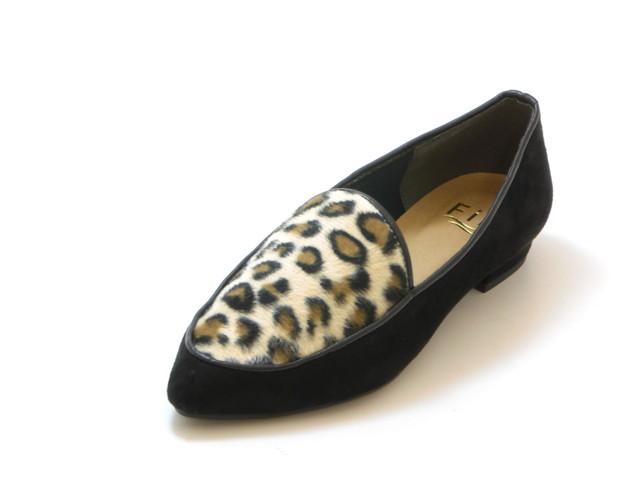 Fin フィンポインテッドトゥ ローファー(ヒョウ)レディース シューズ 靴