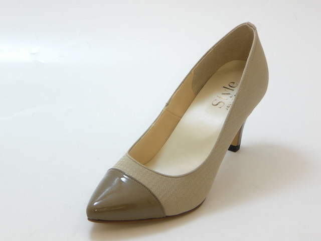 JELLY BEANS ジェリービーンズエナメルコンビ ポインテッドトゥパンプス(ベージュ)レディース シューズ 靴