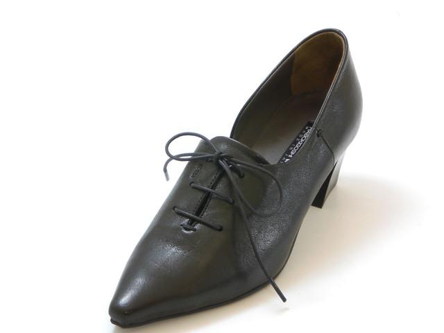 ≪20% OFF SALE≫RABOKIGOSHI works ラボキゴシ ワークスレースアップ サイドオープンパンプス(ブラック)レディース シューズ 靴セール品につき返品・交換・キャンセル不可