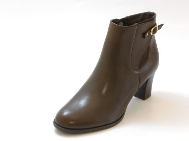 PIEDI NUDI ピエディ ヌーディベルトデザイン ヒールショートブーツ(ダークブラウン)レディース シューズ 靴